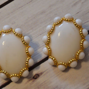 massive white oval cab clip earrings super 1980's